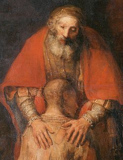 REMBRANDT The Return of the Prodigal Son (detail) c. 1669