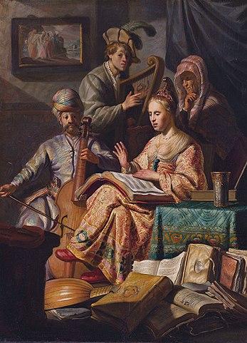 «Аллегория музыки» 1626 года— пример ластмановского влияния на юного Рембрандта