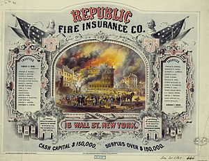Duncan Curry - Certificate issued by Republic Fire Ins. Co. in 1860 listing Curry as Secretary