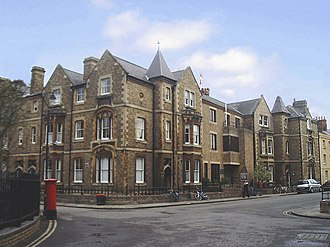 Wellington Square, Oxford - Rewley House on the south side of Wellington Square at the junction with St John Street (on the right).