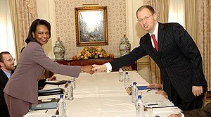 Arseniy Yatsenyuk - Yatsenyuk as Minister of Foreign Affairs meeting with United States Secretary of State Condoleezza Rice