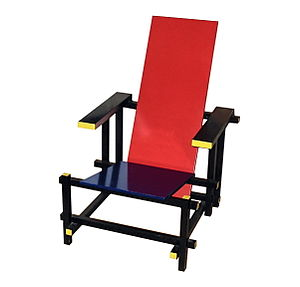 De Stijl - Red and Blue Chair, designed by Gerrit Rietveld, version without colors 1919, version with colors 1923