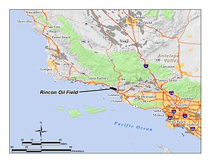 Rincon Oil Field - Location of the Rincon Oil Field in Southern California.  Other oil fields are shown in dark gray.