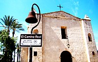 Road to LA - El Camino Real Bell in Front of San Gabriel Mission (5540781815).jpg