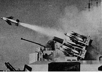 Östergötland-class destroyer - Södermanland testing its newly installed Sea Cat launcher sometime during 1963. The linked CRBFD used a variant of the M4 radar manufactured by Hollandse Signaalapparaten.