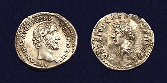 Antoninus Pius - Denarius, struck 140 AD with portrait of Antoninus Pius (obverse) and his adoptive son Marcus Aurelius (reverse).