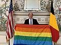 Ronald Gidwitz holding a LGBT flag for 2020 IDAHOT.jpg