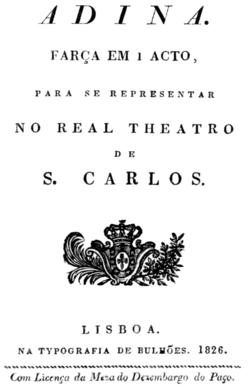 Rossini - Adina - title page of the libretto - Lisbon 1826.png