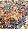 Rostam, Iranian hero, mythical king of Zabulistan. Panjikent, 7th century CE.jpg