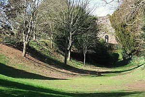 Rougemont Gardens - Rougemont Gardens: looking along the line of the Norman castle ditch towards the city wall