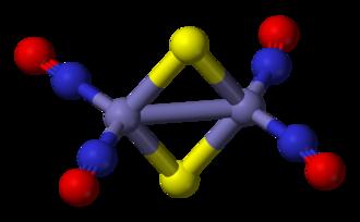 Metal nitrosyl complex - Image: Roussin's red salt anion 3D balls