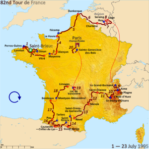 1995 Tour de France - Route of the 1995 Tour de France