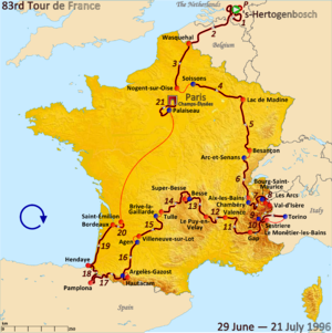 1996 Tour de France - Route of the 1996 Tour de France