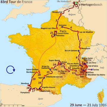 Маршрут Тур де Франс 1996 г.