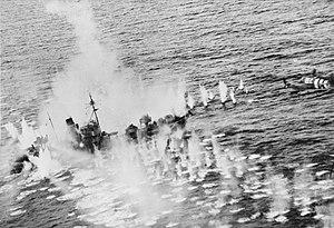 Vorpostenboot - V-1605 Mosel under attack by British aircraft off Lillesand, Norway, 15 October 1944.