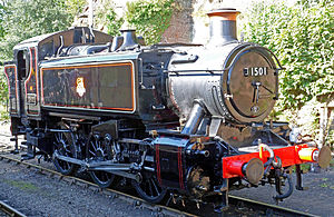 GWR 1500 Class - 1501 after restoration in 2012 and wearing the early BR lined black scheme