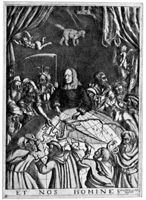 Swedish Reformation and Renaissance literature - Contemporary copper engraving of Olaus Rudbeck giving a fictional lecture on the location of Atlantis.