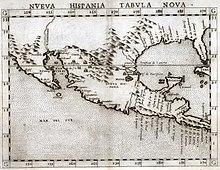 Carte en noir et blanc représentant la Nouvelle-Espagne, en Amérique du Nord et centrale moderne