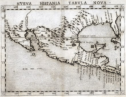 Map of New Spain in 1561 Ruscelli Nueva Hispania Tabula Nova 1561 UTA.jpg