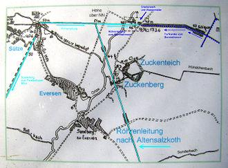 Sülze Saltworks - Route of the brine pipeline from Sülze to Altensalzkoth