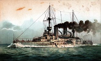 Wittelsbach-class battleship - Lithograph of Mecklenburg in 1902