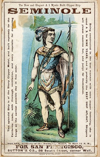 Battle of Jupiter Inlet - A clipper ship card of a Seminole warrior