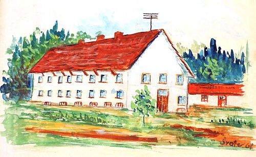 Školní budova na počátku 60. let, dobová kresba ze školní kroniky