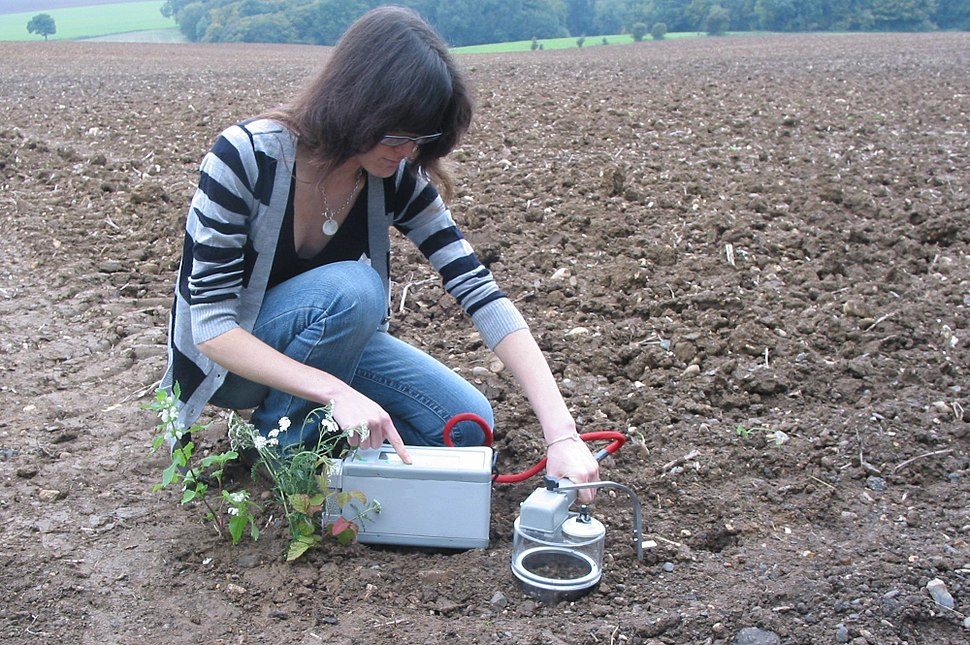 SRS1000 being used to measure soil respiration in the field.
