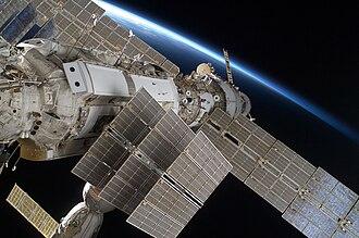 Zarya - Zarya as seen in 2009 during STS-128, solar arrays folded