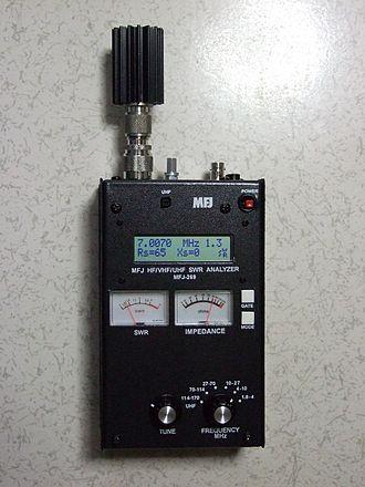 Antenna analyzer - An antenna analyzer measuring SWR and complex impedance of a dummy load. MFJ Enterprises Inc. MFJ-269.