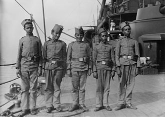 Brazilian battleship Minas Geraes - Afro-Brazilian and pardo sailors pose for a photographer on board Minas Geraes, probably during the ship's visit to the United States in early 1913.