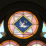 Saint Anthony Catholic Church (Temperance, MI) - stained glass, the Holy Spirit as a dove.jpg