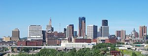 Downtown St. Paul, Minnesota, USA. Looking west.
