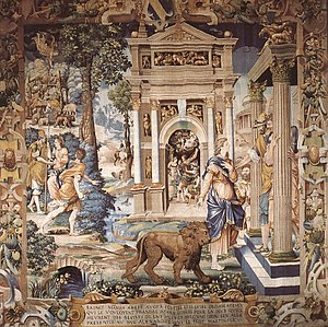 Mammes of Caesarea - Saint Mammes and Duke Alexander.  Tapestry by Jean Cousin the Elder, ca. 1541.