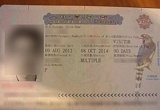 Visa policy of Taiwan - Visa sample of Taiwan