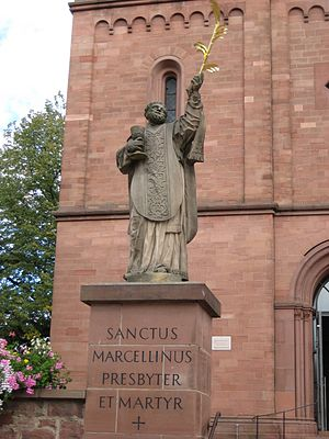 Marcellinus and Peter - Statue of St. Marcellinus at Seligenstadt.