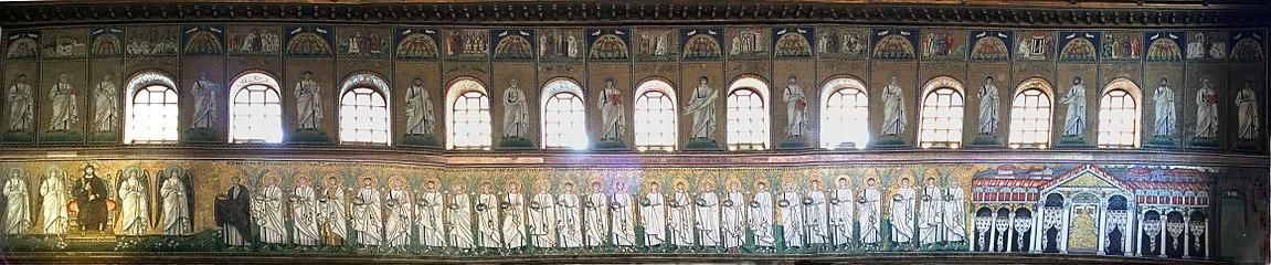 Panorama of the North nave wall mosaics at Sant Apollinare Nuovo