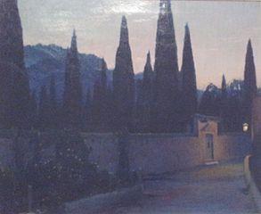 Entrada al cementiri de Sóller a la nit