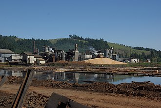 Sawmill - Oregon Mill using energy efficient ponding to move logs