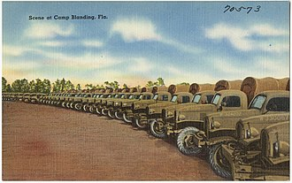 Camp Blanding - Army trucks lined up at Blanding, likely after 1940.