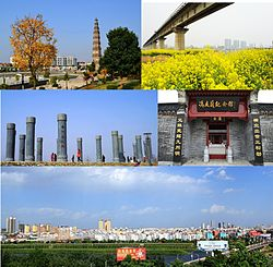 From top to bottom, left to right: Wenfeng Pagoda (文峰塔), Nanjing–Xi'an railway viaduct, Park of famous persons from Tanghe, Feng Youlan Memorial Hall, view of the county seat