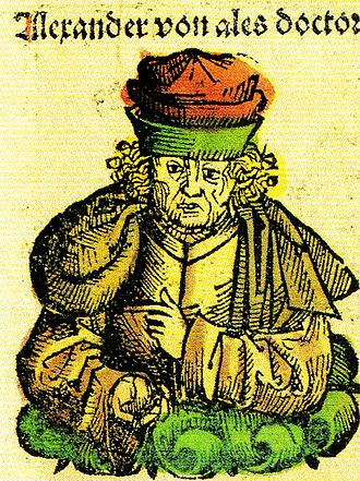 Alexander of Hales - Doctor Alexander of (H)ales in the Nuremberg Chronicle (1493)