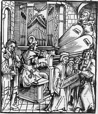 1510s in music - Illustration from the title page of Arnolt Schlick's Spiegel der Orgelmacher und Organisten (1511), the first German treatise on organ building and performance