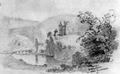 Schloss Gutenstein im oberen Donautal - Bleistiftzeichnung von Eduard von Kallee um 1850.png
