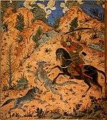 نبرد اسفندیار با گرگ ها در جریان هفت خوان. اسفندیار شاهزاده ای کیانی است که به روایتی دارای رویین تنی بوده.