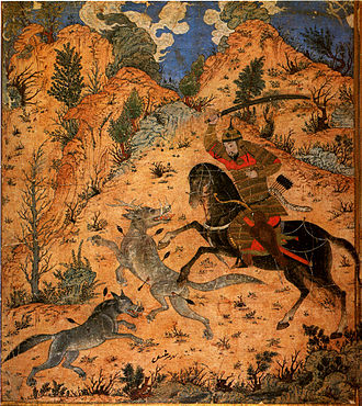 Esfandiyār - Esfandiyar fighting with wolves.