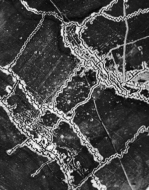 Battle of the Somme - British aerial photograph of German trenches north of Thiepval, 10 May 1916, with the German forward lines to the lower left. The crenellated appearance of the trenches is due to the presence of traverses.