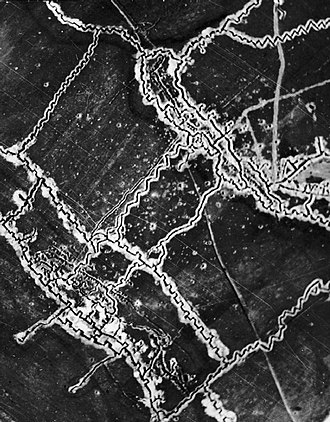 Battle of Thiepval Ridge - Image: Schwaben Redoubt aerial photograph 10 05 1916 IWM HU 91107