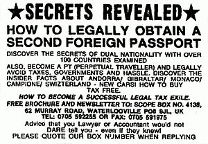 "Perpetual traveler - Advertising for second passports and information about becoming a ""Perpetual Traveller"". Scope, The Times, 1994."
