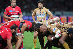 Scrum - US Oyonnax vs. Rugby Club Toulonnais, 3rd October 2014.jpg